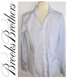 Brooks Brothers Womens Pinstriped Blouse. Size 10